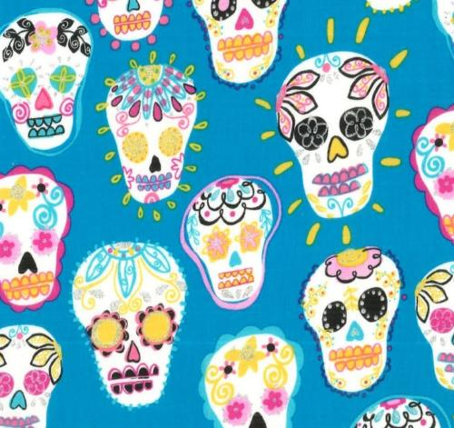 Skeletons with Flowers Turquoise / Calaveritas con Flor Turquesa